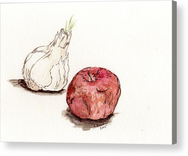 Kitchen Acrylic Print featuring the painting Garlic And Apple by Rachel Barlow