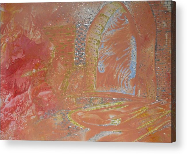 Encaustic Acrylic Print featuring the painting Gates By Flesh by Heather Hennick