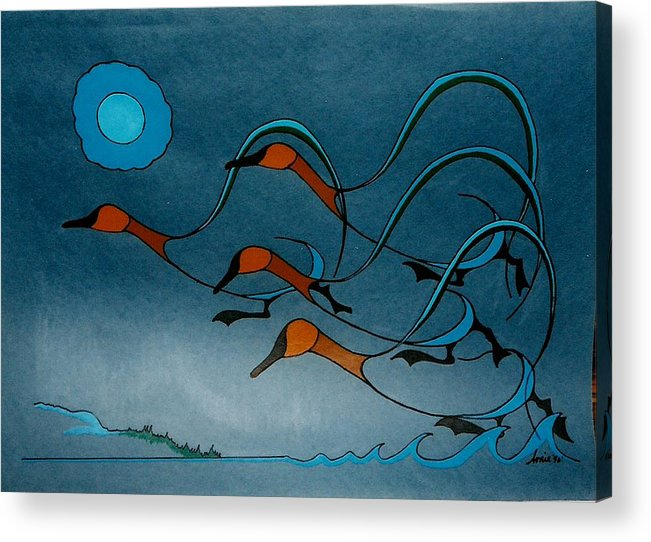 Geese Acrylic Print featuring the painting Geese Soutbound by Arnold Isbister