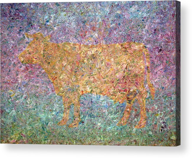 Abstract Acrylic Print featuring the painting Ghost Of A Cow by James W Johnson