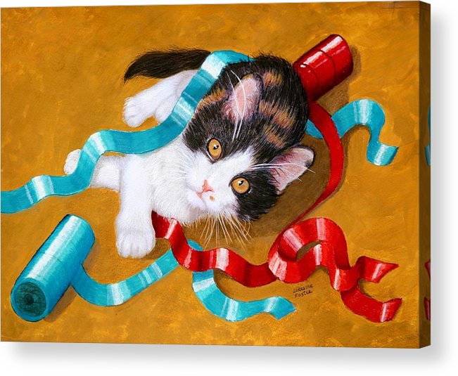 Kitty Acrylic Print featuring the mixed media Gift Wrapped Kitty by Lorraine Foster