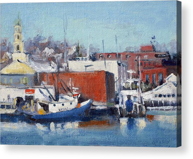 Gloucester Harbor Acrylic Print featuring the painting Gloucester Harbor In Winter by Chris Coyne