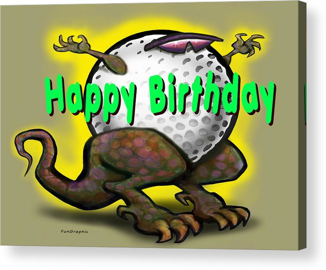 Golf Acrylic Print featuring the greeting card Golf A Saurus Birthday by Kevin Middleton