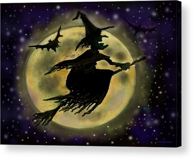 Halloween Acrylic Print featuring the digital art Halloween Witch by Kevin Middleton