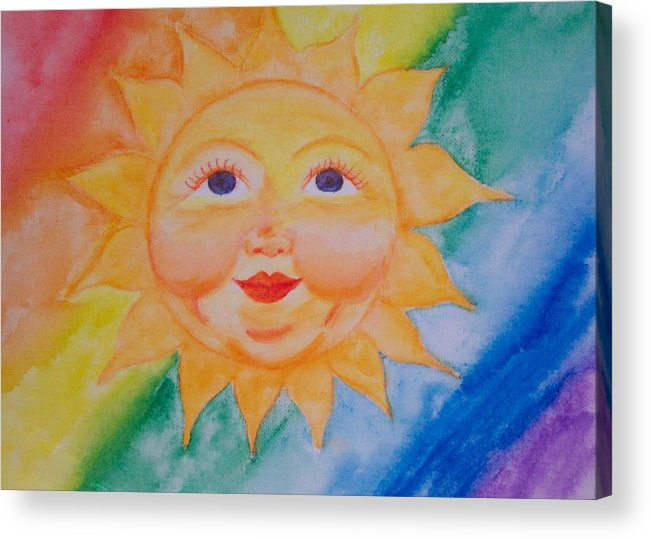 Sun Acrylic Print featuring the painting Happy Sun by Jennifer Hernandez