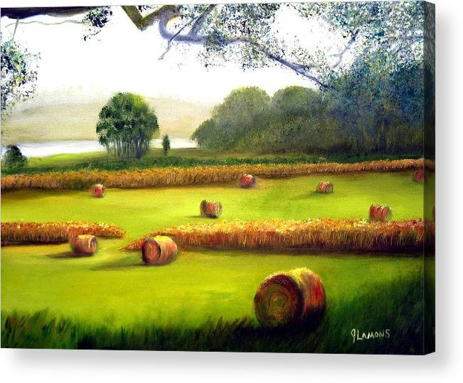 Landscape Acrylic Print featuring the painting Hay Bales by Julie Lamons
