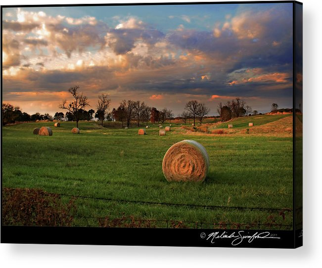 Landscape Acrylic Print featuring the photograph Haybales At Dusk by Melinda Swinford