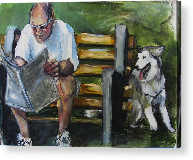 Man In Park Acrylic Print featuring the painting Headlines by Michelle Winnie
