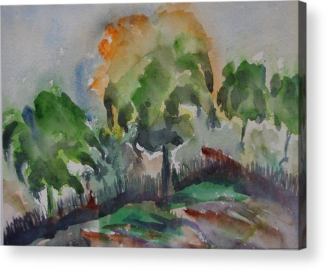 Green Nature Acrylic Print featuring the painting Hilly Slope by Rima