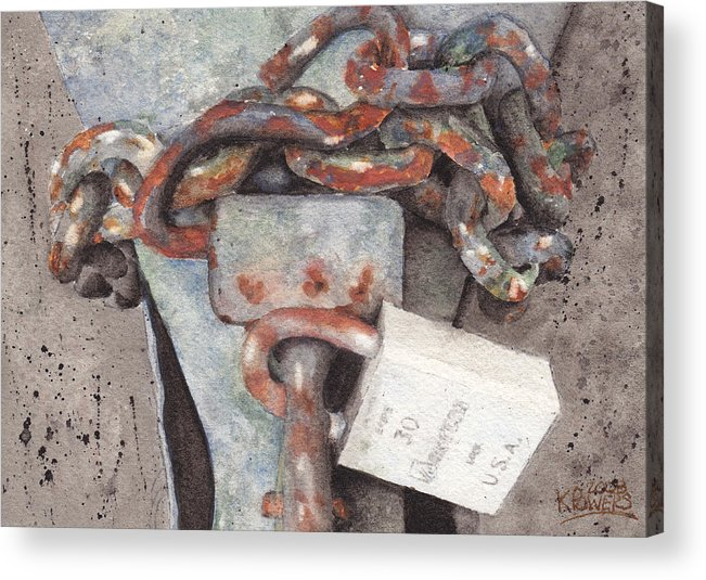 Lock Acrylic Print featuring the painting Hitch Lock by Ken Powers