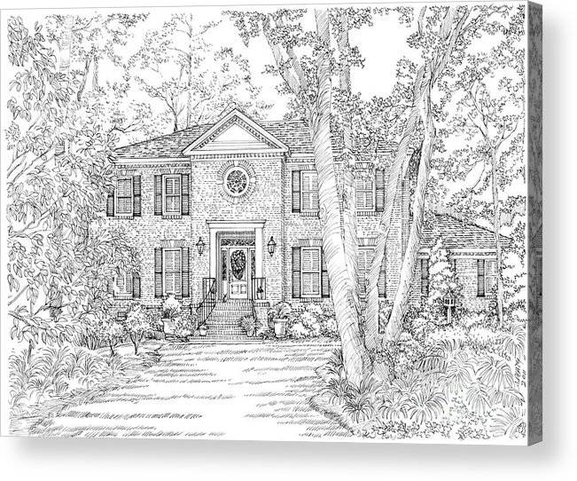 Acrylic Print featuring the drawing Home Portrait # by Audrey Peaty
