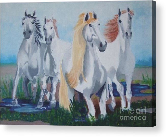 Brown Acrylic Print featuring the painting Horses by Michel Poulin