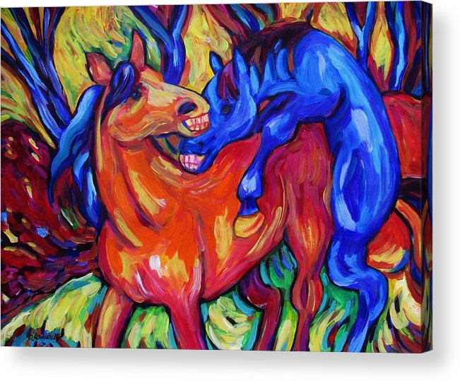 Diconnollyart Acrylic Print featuring the painting Horses Playing by Dianne Connolly