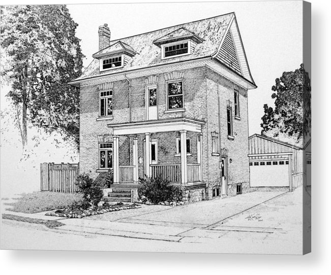 House Portrait From Photograph Acrylic Print featuring the drawing House Portrait In Ink 1 by Hanne Lore Koehler