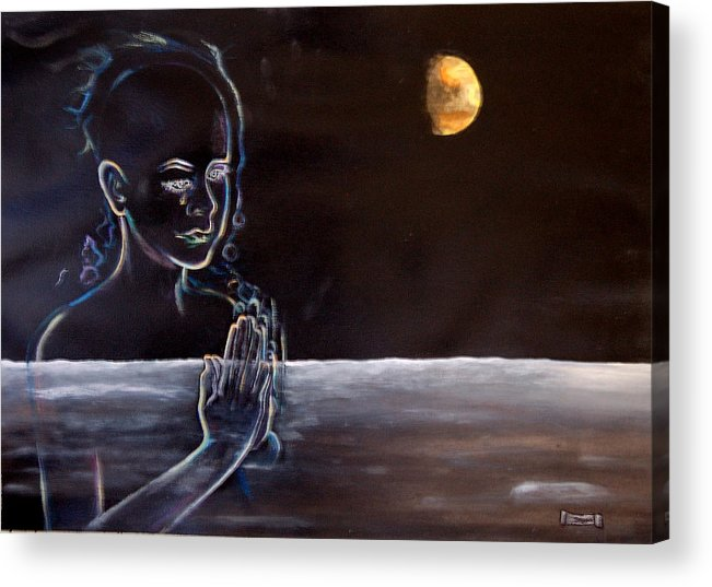 Moon Acrylic Print featuring the painting Human Spirit Moonscape by Susan Moore
