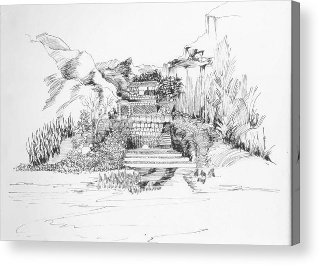 Landscape Acrylic Print featuring the drawing Hut In The Hills by Padamvir Singh