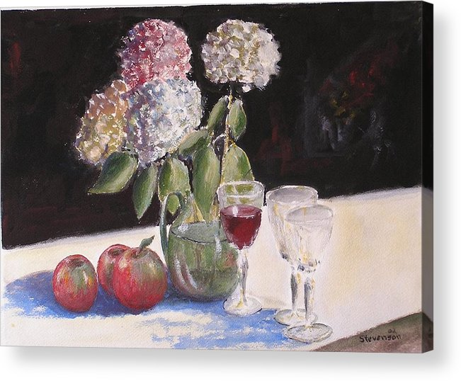 Still Life Of Glass Acrylic Print featuring the painting Hydrangeas Apples And Wine by Joseph Stevenson