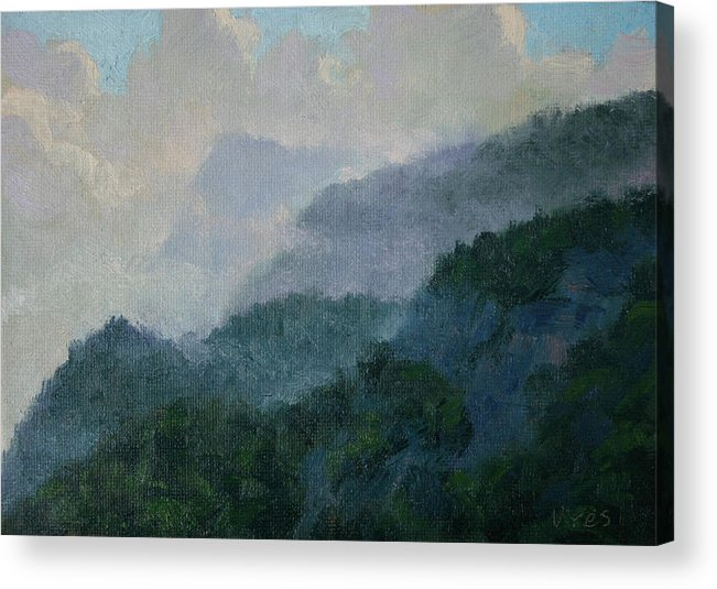 Realism Acrylic Print featuring the painting In The Clouds by Michael Vires