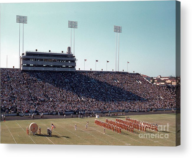 Historical Acrylic Print featuring the photograph In This Vintage 1955 Photo The University Of Texas Longhorn Band by Austin Welcome Center