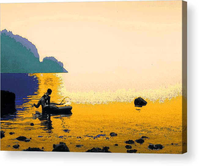 Fishing Acrylic Print featuring the photograph Into The Stillness - Yellow by Lyle Crump