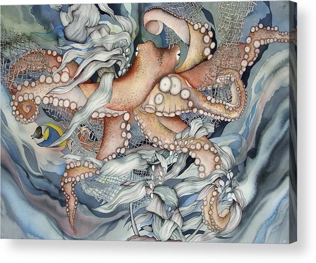 Sealife Acrylic Print featuring the painting Its A Wonderful Wonderful World by Liduine Bekman