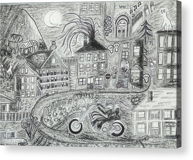Jerome Panorama Acrylic Print featuring the drawing Jerome Moonlight Arizona by Ingrid Szabo