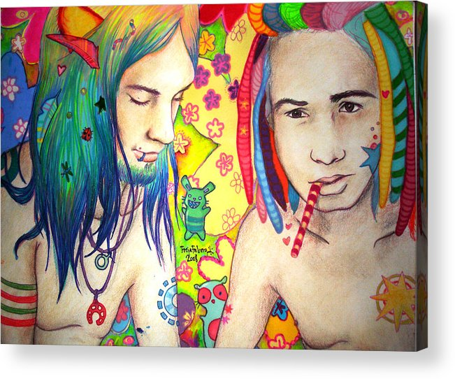 Colours Acrylic Print featuring the drawing Kamil And Louis by Freja Friborg