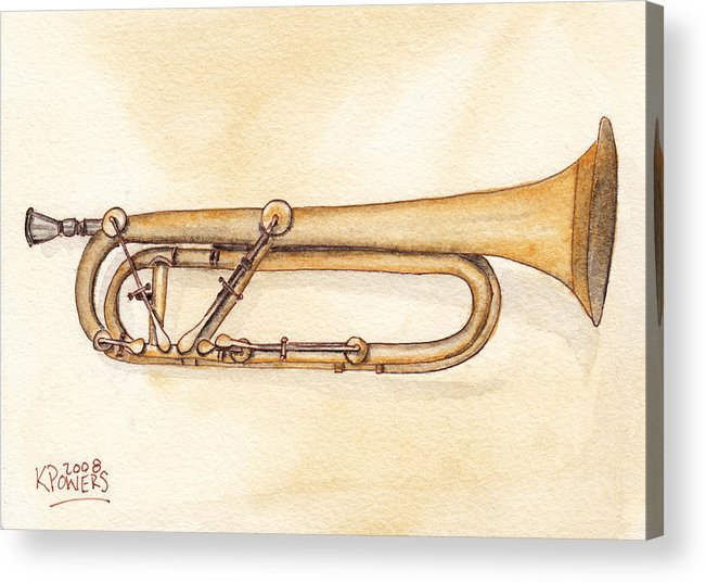 Trumpet Acrylic Print featuring the painting Keyed Trumpet by Ken Powers