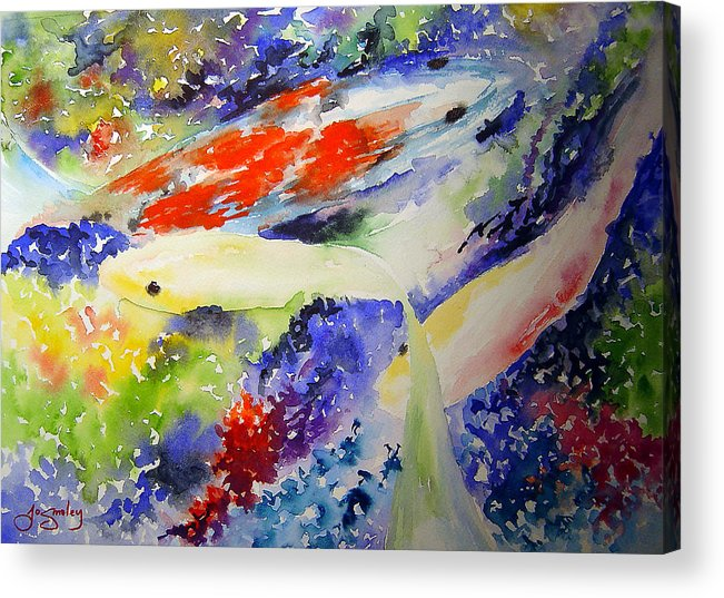 Koi Acrylic Print featuring the painting Koi by Joanne Smoley