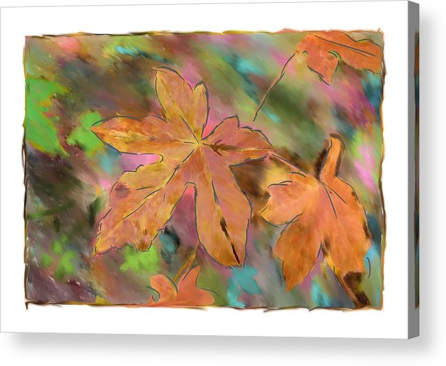 Abstract Digital Art Acrylic Print featuring the photograph Last Of The Fall Leaves Abstract Digital Art by Sandy Belk