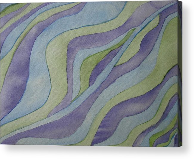 Abstract Acrylic Print featuring the painting Lavender Waves by Liz Vernand