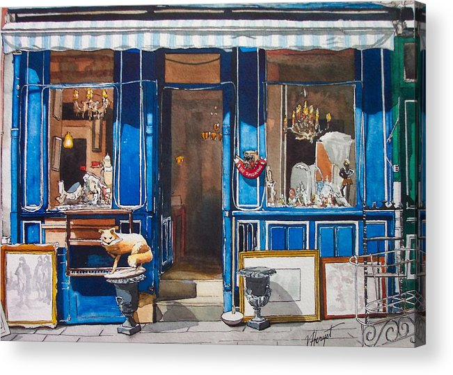 Antique Acrylic Print featuring the painting Le Marche Aux Puces by Victoria Heryet
