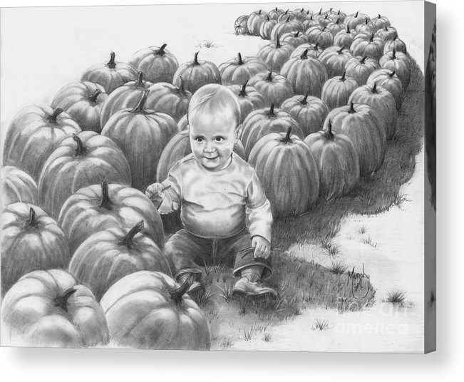 Charity Acrylic Print featuring the drawing Little Pumpkin by Murphy Elliott