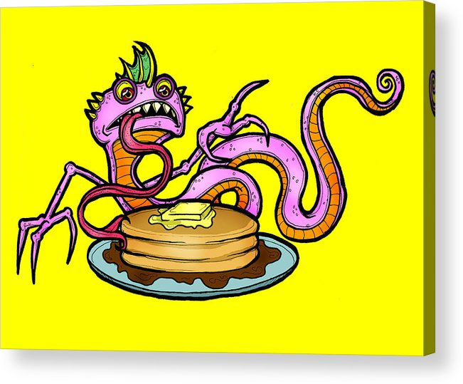 Lizard Acrylic Print featuring the digital art Lizard V. Pancakes by Christopher Capozzi