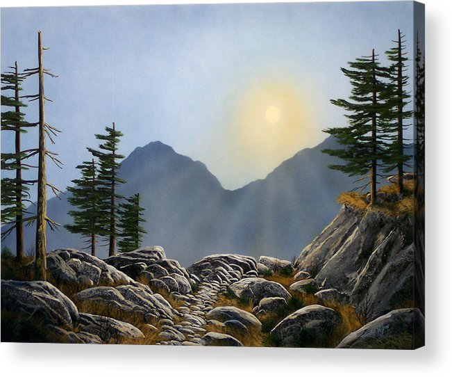 Landscape Acrylic Print featuring the painting Lookout Rock by Frank Wilson
