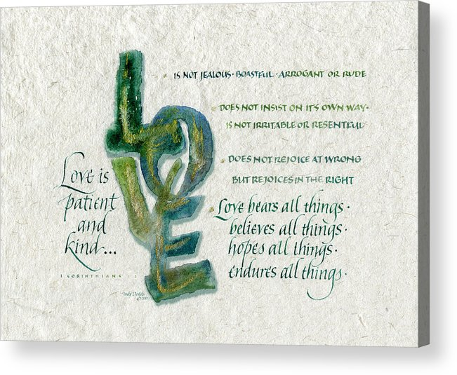 Anniversary Acrylic Print featuring the painting Love Is by Judy Dodds