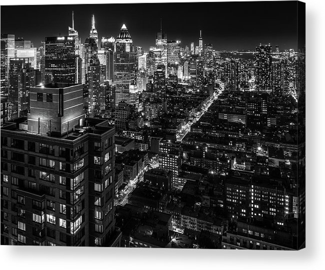 New York Acrylic Print featuring the photograph Manhattan At Night by Zolt Levay