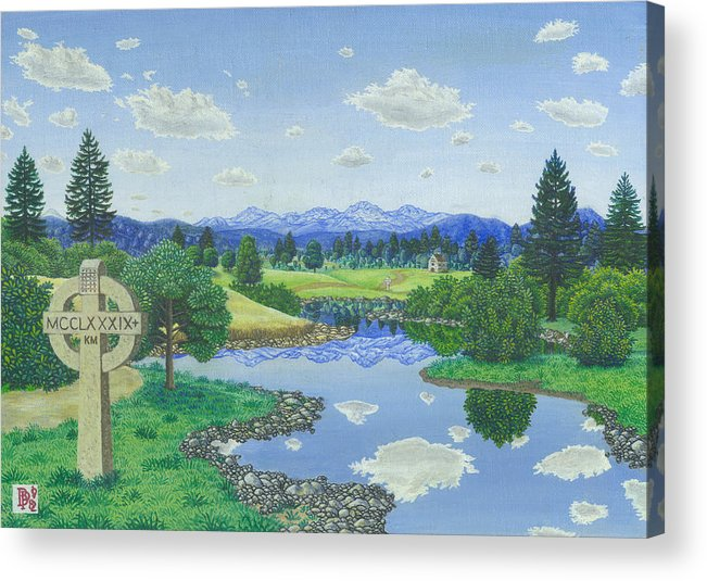 Landscape Acrylic Print featuring the painting Many Miles Away by Bill Perkins