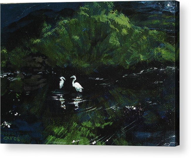 Herons Acrylic Print featuring the painting Midnight by Jill Iversen