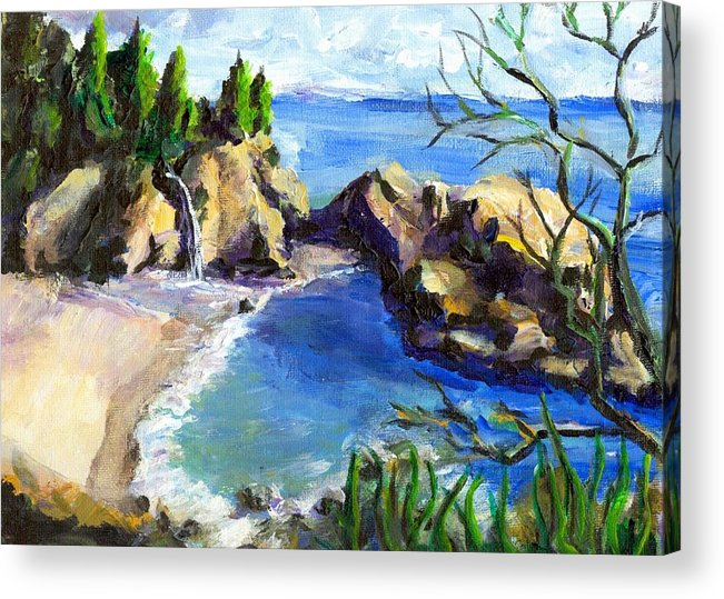 Waterfall Acrylic Print featuring the painting Mikes Beach by Randy Sprout