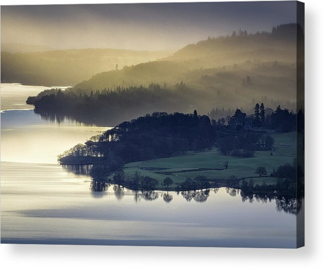 Boat Acrylic Print featuring the photograph Misty Lake Windermere by Philip Durkin