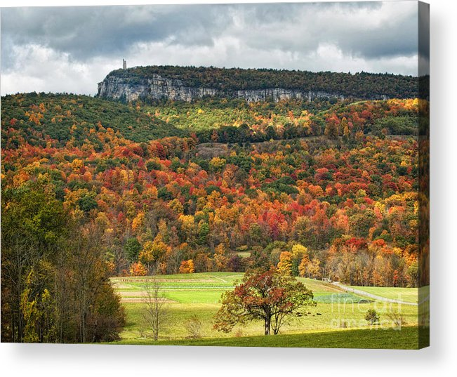 Fall Acrylic Print featuring the photograph Mohonk Tower by Claudia Kuhn