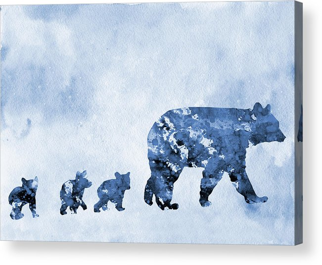 Mom And Baby Bears Acrylic Print featuring the digital art Mom And Baby Bears-blue by Erzebet S