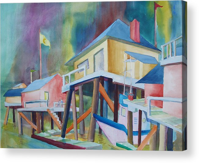 Monterey Wharf Acrylic Print featuring the painting Monterey Wharf by Howard Luke Lucas
