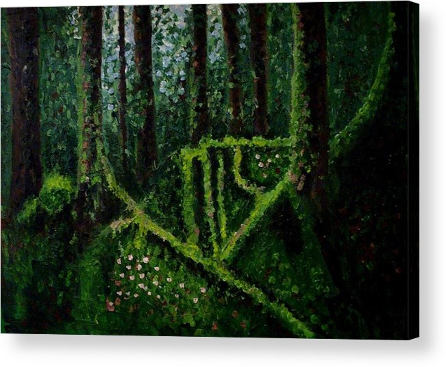 Forest Acrylic Print featuring the painting Moss-covered Roots by Mats Eriksson