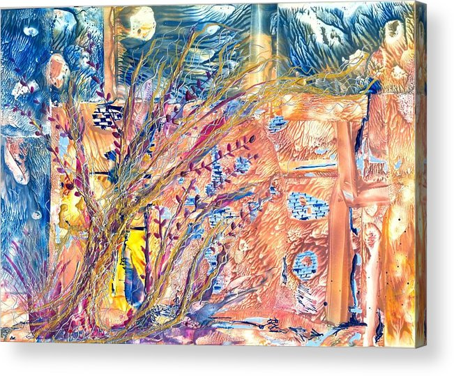 Abstract Encaustic Acrylic Print featuring the painting My Place by Heather Hennick
