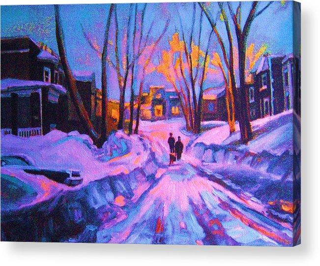 Winterscene Acrylic Print featuring the painting No Sidewalks by Carole Spandau
