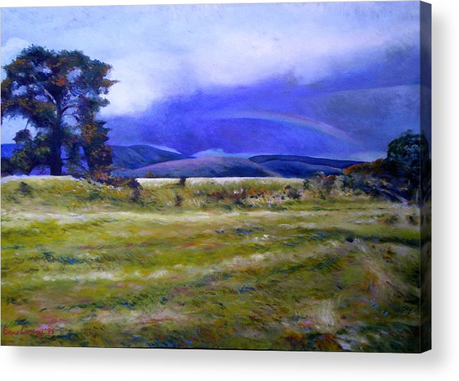 Tasmanian Landscapes Acrylic Print featuring the painting Northeast Tasmania Australia 1995 by Enver Larney