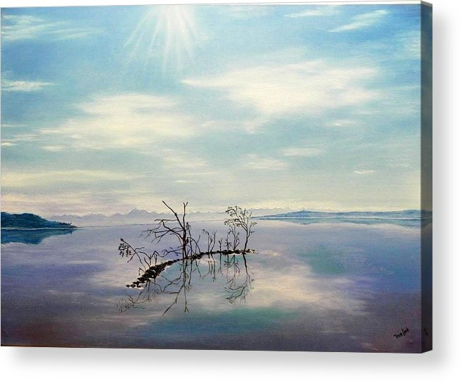Late Novemeber In Bavaria Acrylic Print featuring the painting November On A Bavarian Lake by Helmut Rottler