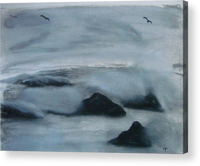 Ocean Acrylic Print featuring the painting Ocean Rocks by Dottie Briggs